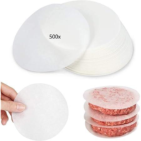 Burger Patty Paper Lot de 500 feuilles papier sulfurisé rond Ø 11 cm Papier ciré, papier séparation anti-adhésif pour presses à hamburger, fricailles, patties, vapeurs, accessoires de cuisson