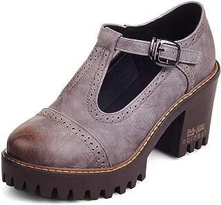 Vimisaoi Women's Classic T-Strap Mary Janes Cutout Oxfords Shoes, Platform Block Mid-Heel Square Toe Bow Dress Pumps Brogue Shoes