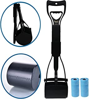 Pooper Scooper for Pet Waste,Best Long Handle Jaw Clamp Scooper with Poop Bags, Great in Grass, Gravel, Snow, Dirt, Cement