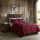 Woolrich 100% Cotton Quilt Reversible Plaid Cabin Lifestyle Design - All Season, Breathable Coverlet Bedspread Bedding Set, Matching Shams, Buffalo Check Red King/Cal King(110'x96')