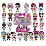 24 Pcs LOL Dolls Cake Toppers Cupcake Toppers set,Pink Cake Decorations for Baby Theme Party LOL(JL01)