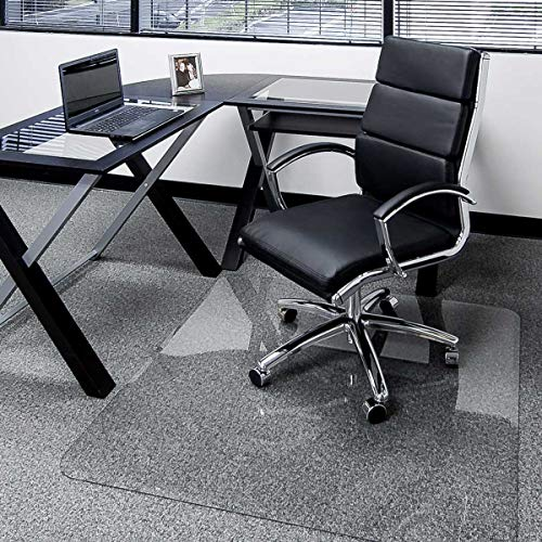 """45"""" x 53"""" Glass Chair Mat with Exclusive Beveled Edge by Clearly Innovative, 1/4"""" Thick Clear Tempered Glass with Easy Roll Edges 