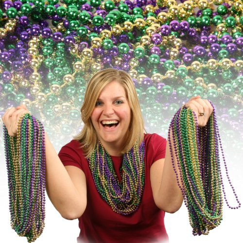 Forum Novelties Beaded 33' Necklaces Adult Costume Jewelry, Green, Gold,...