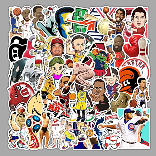 XXCKA 62 Pegatinas de Estrellas Deportivas de la NBA no repetitivas, Maleta de Equipaje, Pegatinas Decorativas Impermeables para monopatín de Coche