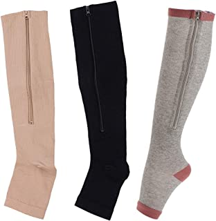 3 Pairs Easy On Zip compression Socks Toe Open Leg Support Stocking Knee High Socks For Men Women