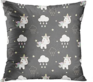 Llsty Throw Pillow Cover 18 x 18 inches Cute Unicorn Cloud Stars Pattern Unicorn Art Polyester Print Soft Square for Couch Sofa Bedroom Pillowcase Hidden Zipper Home Style Cushion Case