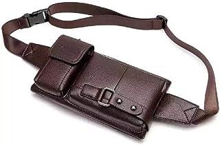 Men's Leather Sling Bag,Chest Shoulder Backpack, Water waterproof Crossbody Bag (Brown, Medium)