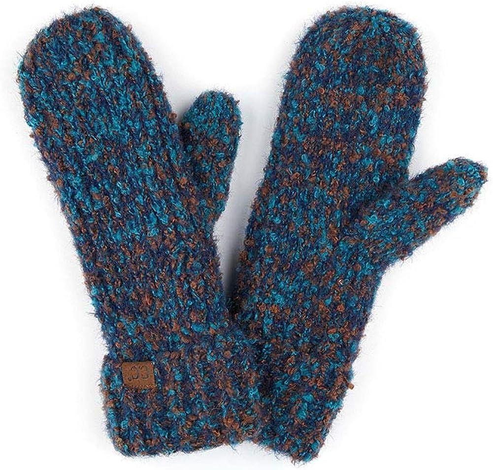 ScarvesMe Women's Winter Warm Boucle Yarn Knit Mitten Gloves with Cuff