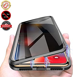 Privacy Magnetic Case for iPhone XR, Anti Peeping Clear Double Sided Tempered Glass [Magnet Absorption Metal Bumper Frame] Thin 360 Full Protective Phone Case for iPhone XR 6.1'' Black