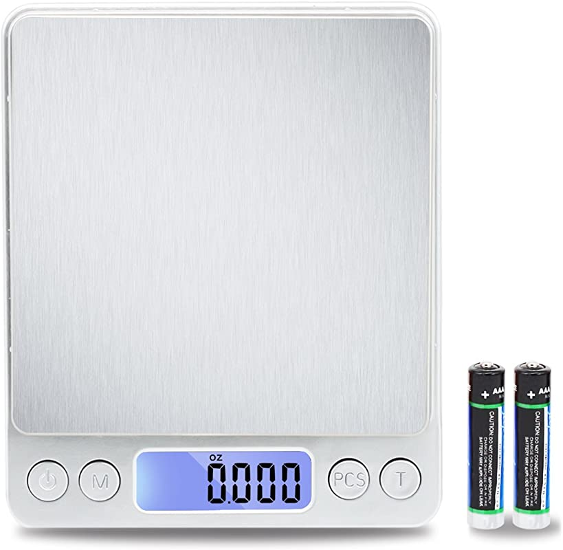 TekSky 500G 0 01G Digital Kitchen Scale Tare PCS Function 6 Units Back Lit LCD Pocket Size Battery Powered Silver