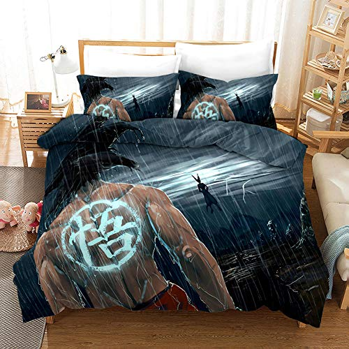 Duvet Cover Single Bed 135x200 cm Bedding set by Microfiber with 2 Pillowcases 50x75 cm for Adult and children bed with Zipper Dragon Ball Printing Duvet Cover set