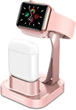 GaoBao 2 in 1 Charging Stand Compatible with Apple Watch Series 5/Series 4/Series 3/Series 2/Series 1 & AirPods 1/ Air Pods 2,Nightstand Station Dock Holder for iWatch 38mm/40mm/42mm/44mm,Rose Gold