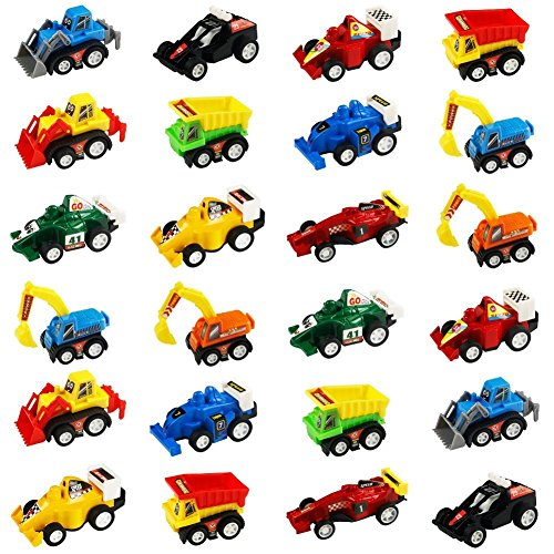Mini Auto Tirare Indietro e Andare Modellini Auto Veicoli Scavatori Bulldozer Racing Cars Karting Set di Veicoli Colorati per Bambini 3 Anni, 24 Pcs (Set di 2)