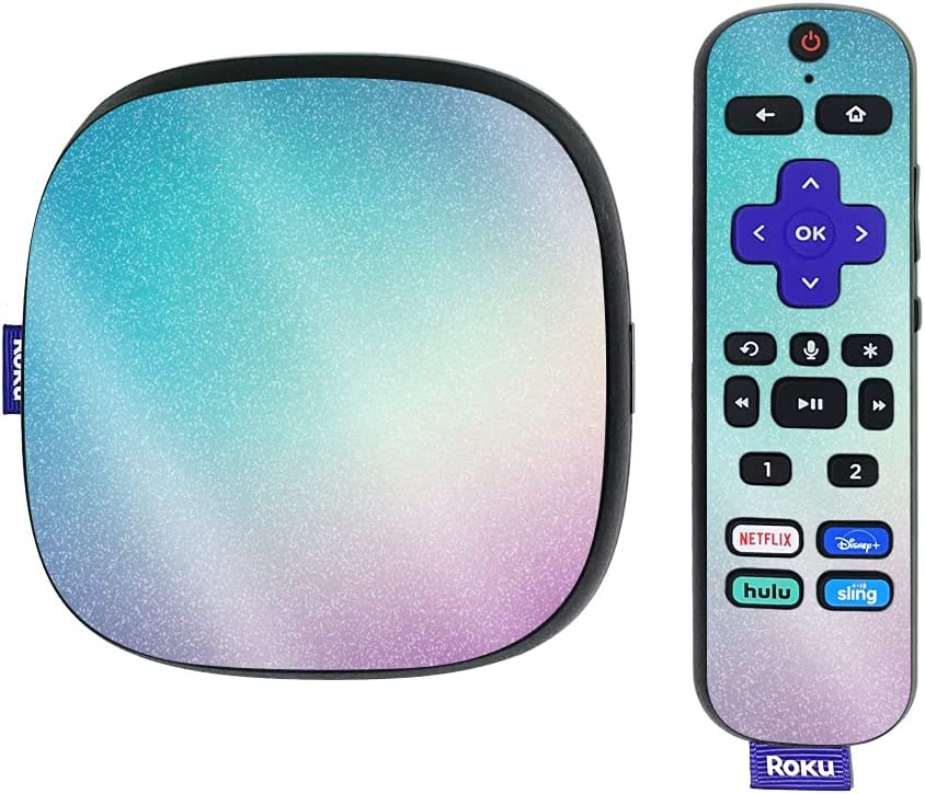 MightySkins Glossy Glitter Skin Compatible with Roku Ultra HDR 4K Streaming Media Player (2020) - Vivid Fog   Protective, Durable High-Gloss Glitter Finish   Easy to Apply   Made in The USA