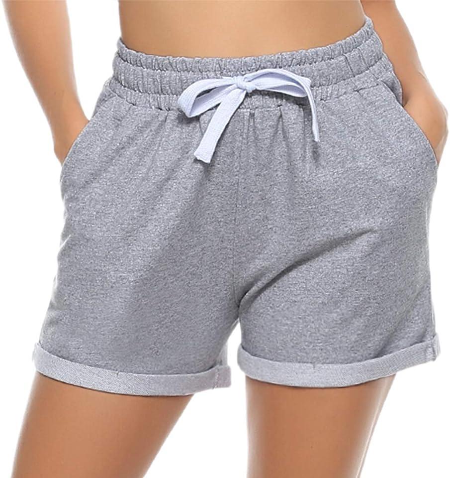 Damen Schlafanzughose Karierte Pyjama Hose Kurz Sommer Shorts Nachtwäsche aus 100% Baumwolle