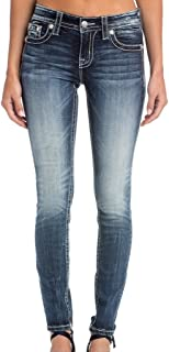 Miss Me Women's Mid-Rise Skinny Jeans with Distressed Back Pockets