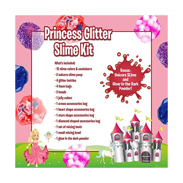 Princess Slime Kit for Girls - Bonus Unicorn Slime and Glow-in-The-Dark Slime Mixing Fun, 12 Colors - Stretchiest Slime Kit, Slime Charms, Crowns, Foam, Glitter, DIY Pink, Clear Slime, Toys for Girls 9