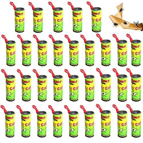 Binen Set di 32 rotoli di trappola per mosche, Acchiappamosche trappola per mosche, Trappole Insetti Volanti Carta Moschicida Rotolo per Insetti Volanti Interni ed Esterni