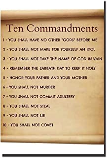POSTERFORHOME The Ten Commandments Poster for Kids, Religious Poster Decorative for Home 20 x 30