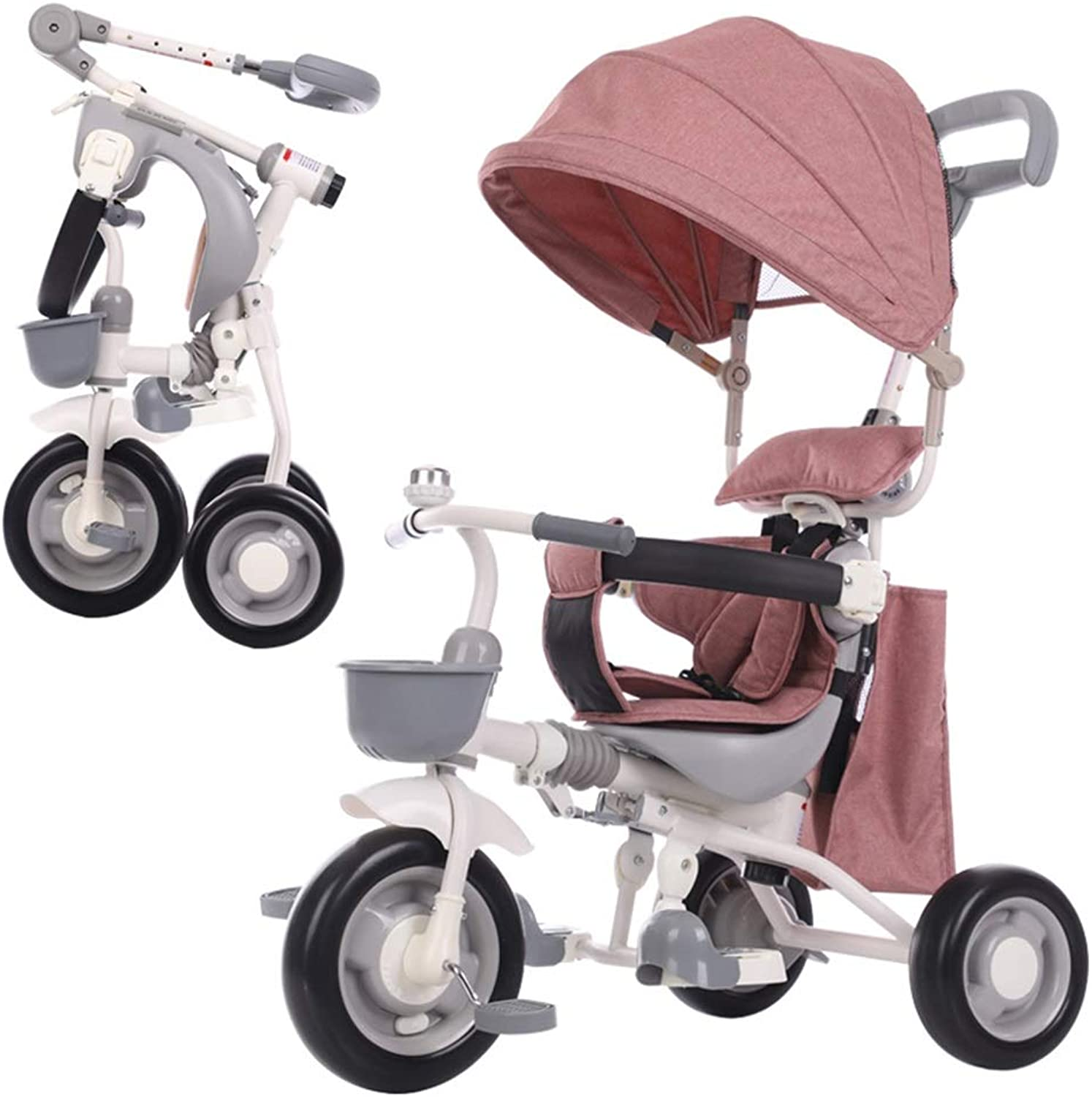 YUMEIGE Kids' Tricycles Kids Tricycle Solid Wheel 1-6 Years Old Birthday Gift Tricycle Kids Strollers Toddler Trike with Awning Storage Bag 3-Point Safety Harness Available