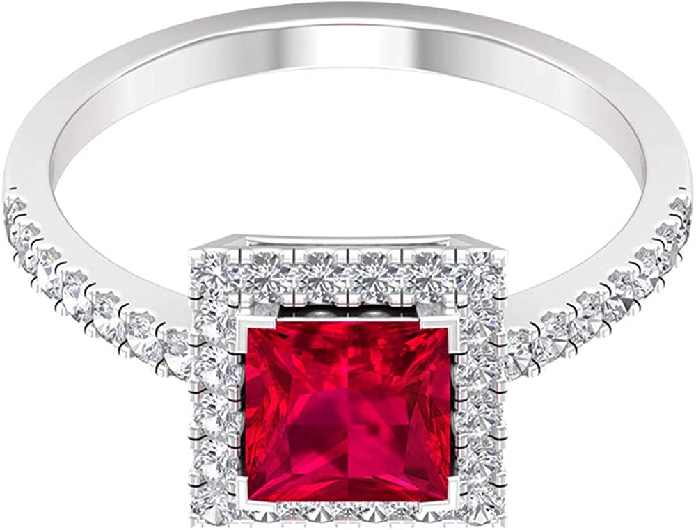 6 MM Glass Filled Ruby Princess Cut Ring, D-VSSI Moissanite Halo Engagement Ring, Solid Gold Solitaire Ring with Side Stones, 14K White Gold, Moissanite, Size:US 9.0