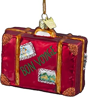 Noble Gems Kurt Adler 3-1/2-Inch Glass Bon Voyage Suitcase Ornament