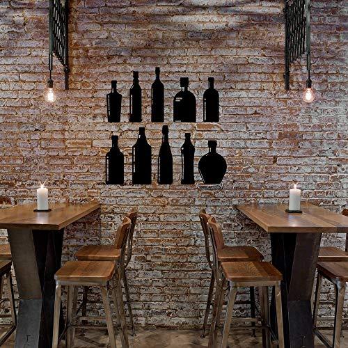 SUPWALS Wandtattoos Alkohol Drink Set Silhouette Flasche Wandaufkleber Aufkleber Resto-Bar Aufkleber Wandkunst Dekoration 42X39Cm