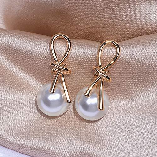 Erin Pendientes Geométricos Metálicos Dorados Elegantes Pendientes Largos De Perlas De Simulación Grande Regalos De Joyería De Fiesta De Bodas para Mujeres