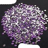 2-6mm 1000Pcs Diamantes de imitación Crystal Clear AB Non Flatback Nail Rhinestoens para ropa Uñas Decoración de uñas 3D-Violeta profundo, 6mm, 1000Pcs