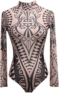 Women's Boho Floral Romper Clothes High Collar Leotard Stretch SexyCorset See Through Long Sleeve Jumpsuit Bodysuit
