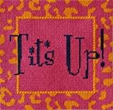 Tits Up Needlepoint kit for Adults & Beginners. Contemporary Design with 5x5' Funny Saying. 18 mesh Mono Canvas, Silk Threads & Decorative Stitch Option.