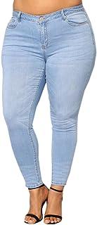 a Alta Pantalones Jeans Mujer Elástico