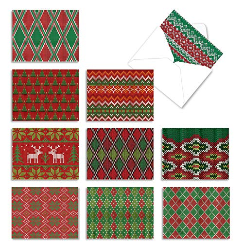 The Best Card Company - 10 Blank Christmas Note Cards with Envelopes (4 x 5.12 Inch) - Fun Assorted Holiday Notecard Set - Christmas Knits M9625XSB
