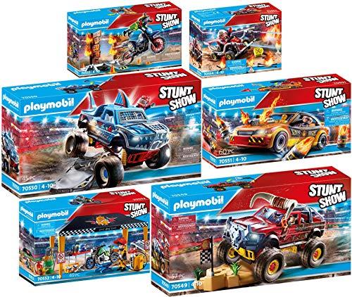 PLAYMOBIL Stuntshow Juego de 6 Piezas 70549 70550 70551 70552 70553 70554 Monster Truck Horned & Shark + Crashcar + Tienda Taller + Moto + Kart Bombero
