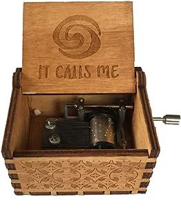 Caja de música de manivela de madera tallada antigua, caja musical exquisita del tema retro para el regalo del día de fiesta de cumpleaños size Moana