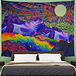 professional Amhokhui Trippy Tapestry Psychedelic Tapestry Mountains and Sun Tapestry Colorful sunrise …