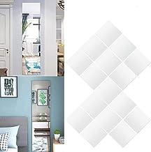 Exnemel Spiegel Muurstickers, 4/8/9/12/16 stks Flexibele Spiegelplaten, PVC Zelfklevende Spiegel Tegels Stickers Decal voo...