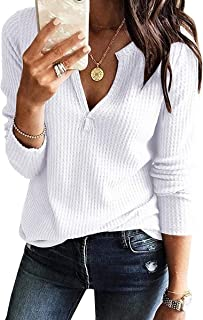 Glomeen Women's V Neck Henley Shirts Waffle Knit Loose Fitting Casual Long Sleeve Blouse Tops