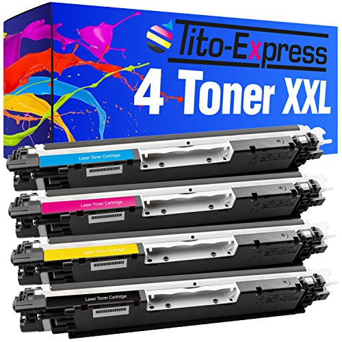 Tito-Express PlatinumSerie 4 Toner XXL kompatibel mit HP CE310A CE311A CE312A CE313A 126A | Geeignet für HP Laserjet CP1021 CP1022 CP1023 CP1025 CP1025NW CP1026NW CP1027NW CP1028NW