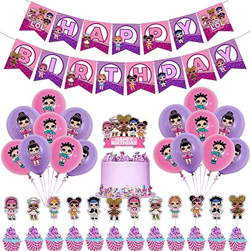 LOL Geburtstag Dekorationen LOL Thema Partyzubehör Set LOL Überraschung Puppen Geburtstag Deko Luftballons Happy Birthday Banner für Mädchen Baby Kinder Geburtstag Party