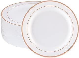 WDF 60pcs Disposable Plastic Plates-7.5inch Salad/Dessert Plates- Rose Gold Trim Real China Design - Premium Heavy Duty Plastic Plates for Wedding/Parties