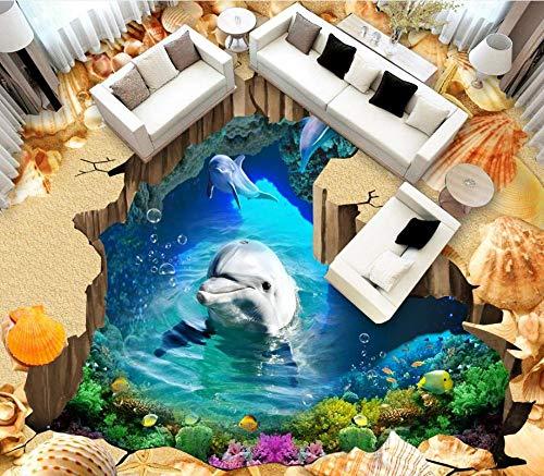 Foto mural de pared personalizado playa cueva delfines papel tapiz de suelo 3d para habitación baldosas de suelo 3d estereoscópico 3d mejora del hogar-200 * 140 cm