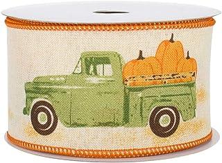 "Pumpkin Pickup Truck Wired Ribbon - 2 1/2"" x 10 Yards, Fall Decor, Autumn Gift Basket, Wreath, Swag, Thanksgiving, Hallowe..."