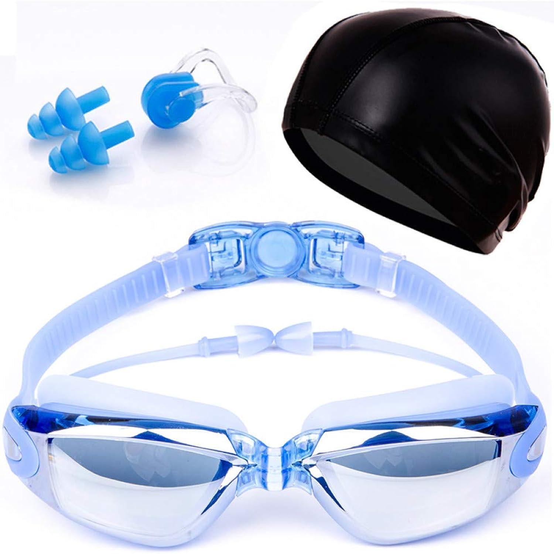 ZJHK Schwimmbrille Schwimmbrille Für Erwachsene Galvanotechnik wasserdichte Schwimmbrille Für Schwimmbder Mit Hd Anti-Fog Uv-Korrekturbrille