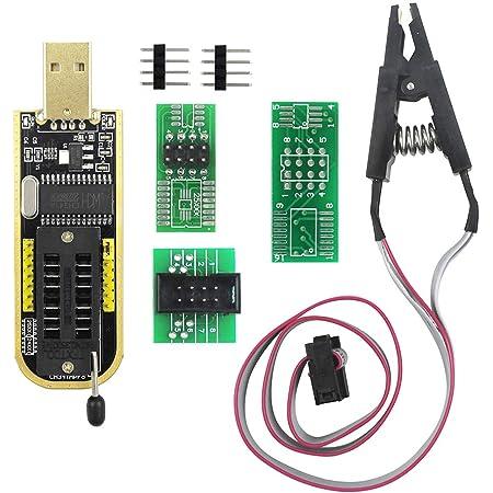 KeeYees CH341A ROMライター SPI Flashライター 24 25シリーズ EEPROM BIOS プログラマー USB-TTLコンバータ + SOP8 ICテストクリップ 8ピン