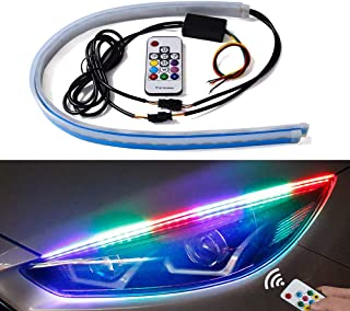 Flexible Car Led Light Strip - Multi Color 2 Pcs 24 Inches Daytime Running Lights LED RGB Kit Waterproof - for Car Replacement Switchback Headlight Decorative Lamp Kits and Turn Signal Tube Lights