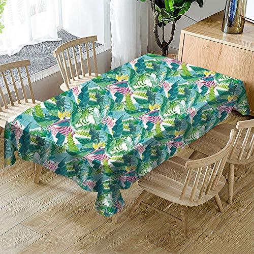 SMLXVHN Grüne Tropische Blaudruck Tischdecke,Tischwäsche 3D Drucken,Tischdecke Cover Rechteckige Tisch Decke,Tischdecke Garten,Party Feiertagsfeier Tischtuch 140X250cm