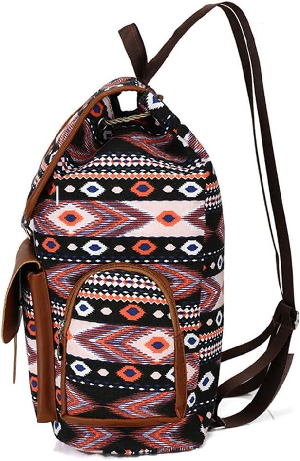 Women Fashion Backpacks Canvas School Bags For Girls Teenagers Printing Travel Bag Bohemia Style Rucksack Brown 30x37x12cm