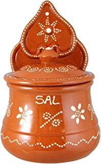 Vintage Portuguese Traditional Clay Terracotta Pottery Salt Holder Made In Portugal