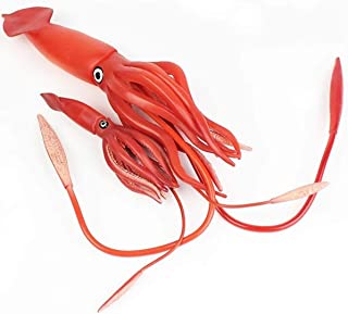 Gemini&Genius Realistic Hand Painted Squid and Cub Set Toy Figurine Model Action Figure Soft Rubber Ocean Sea Life Animals Educational and Role Play Toys for Kids